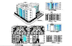 Residential Flat with elevation in dwg file