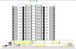 Residential Flats Architecture Layout and Elevation dwg file