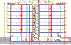 Residential Flats Architecture Layout and section Details dwg file