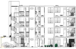 Residential Flats Design and Elevation dwg file