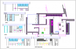 Residential Kitchen plan layout dwg file