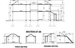 Residential Section Plan With Dimension