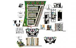 Residential apartment 5.90mtr x 15.00mtr with section and elevation in dwg file