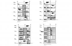Residential apartment building drawing with elevation and section in dwg file