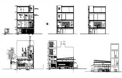 Residential apartment building elevation and section details dwg file