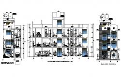 Residential apartment building facade and side section details dwg file