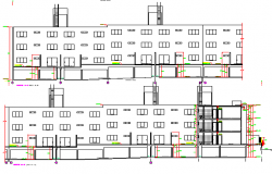 Residential apartment building front elevation dwg file