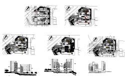 Residential apartment building structure detail plan and elevation layout autocad file