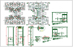 Residential apartment flat floor plan detail view dwg file