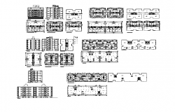 Residential apartment flats detail elevation layout 2d view dwg file