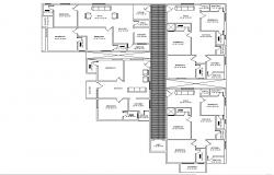 Residential apartment with detail dimension in AutoCAD