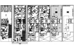 Residential apartment with elevation and section in autocad