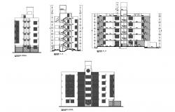 Residential apartment with elevation and section in dwg file