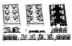 Residential apartment with elevation in autocad
