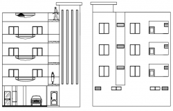 Residential apartment with elevation in dwg file