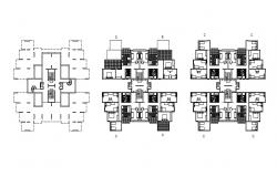 Residential apartment with furniture details in AutoCAD