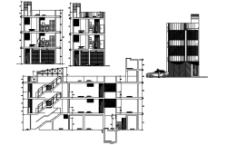 Residential apartment with section and elevation in AutoCAD