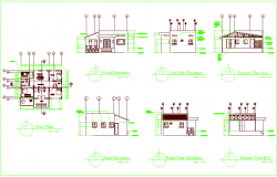 Residential area floor plan,front elevation and sectional view dwg file