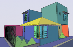 Residential area in 3d view of bungalows dwg file