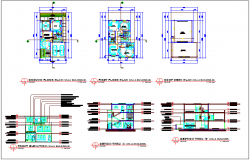 Residential building B plan,elevation and section view dwg file