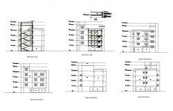 Residential building all sided elevation and sectional details dwg file
