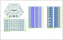 Residential building elevation and section view detail dwg file