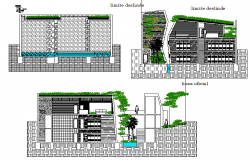 Residential building elevation view dwg file