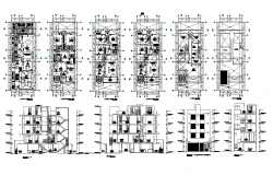 Residential building flat detail 2d view plan and section layout autocad file