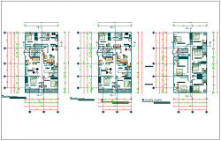 Residential building floor plan dwg file