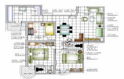 Residential building plan detail 2d view layout autocad file