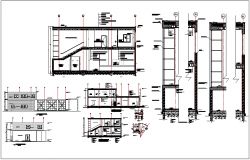 Residential building plan detail view with structure detail view dwg file