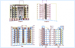 Residential building with seven level elevation and section view dwg file
