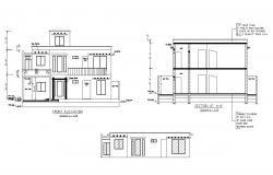 Residential bungalow elevations in autocad