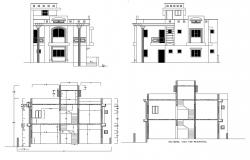 Residential bungalow elevations in dwg file