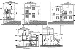 Residential bungalow with detail dimension in dwg file