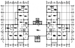 Residential flat with detail dimension in autocad