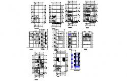 Residential flats elevation, section, floor plan and auto-cad details dwg file