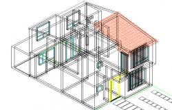 Residential group 3 D plan detail dwg file