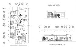 Residential house 20mtr x 10mtr with elevation in dwg file