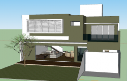 Residential house 3d view skp file