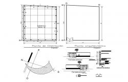 Residential house elevation, section and foundation plan details with column dwg file