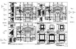 Residential house elevation and constructive sectional details dwg file