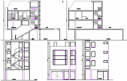 Residential house elevation and section plan dwg file