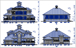 Residential house elevation view details dwg files