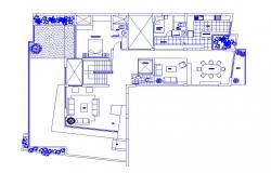 Residential house general distribution plan cad drawing details dwg file