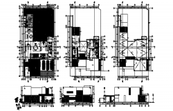 Residential house plan 18.823mtr x 32.534mtr with elevation details in dwg file