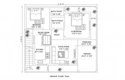 Residential house plan 9.81mtr  x 9.93mtr with furniture detail in dwg file