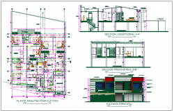 Residential house plan detail dwg file