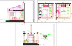 Residential house plan detail view dwg file
