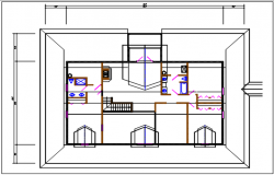 Residential house plan detail with dimension, furnisher in room dwg file